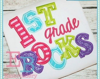 First Grade Rocks Applique - This design is to be used on an embroidery machine. Instant Download