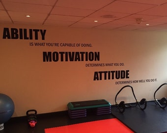 Gym Motivation, Lou Holtz Quote Gym Wall Decal. Ability, Motivation, Attitude 14