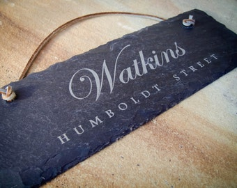 "12""x4"" Personalized Sign. Engraved Slate Sign.  Custom Door Sign. Custom Name Sign. Personalized Door Hanger. Custom Engraved Hanging Sign"