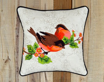 Love Birds pillow, embroidered, cotton throw pillow, 12X12 inches