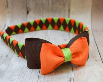 Girls Thanksgiving headband, Fall headband with bow, Fall colors, Autumn hairband for girls