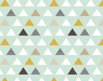 Mint and Grey Triangles - Nursery Linen