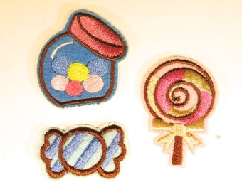 "3pc Iron-on ""candy"", applique, application (P79)"