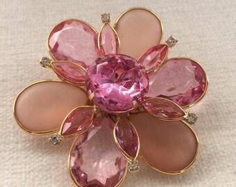 Huge Pink Flower Brooch