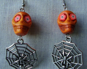 Earrings, skull earrings, halloween earrings, spider web, day of the dead skulls, howlite skull beads