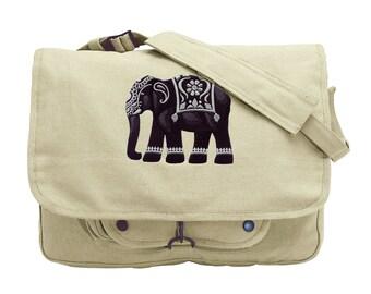 Bidri Elephant Embroidered Canvas Messenger Bag