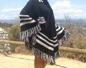 Large Knit Poncho, Button Up, Black ,White ,Fringed poncho