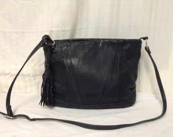 Tignanello,Leather purse,bags purses, Black, Leather, Shoulder Bag, Purse, tassel,FREE SHIPPING