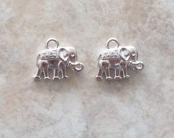 12x14x2.5mm Alloy Metal Vintage Elephant Charms in Silver Color (ch14)