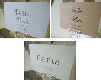 Wedding Personalised A5 Table Number/Name Cards-Vintage-Brown Kraft/Ivory/White