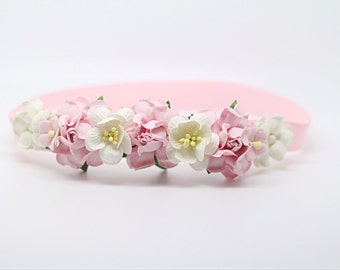 pink headband, Pink and White Flower Girl Headband, Pink and White Headband, Pink Flower Headband,Pink Floral Headband,Pink Newborn Headband