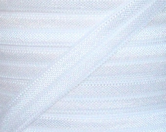 White Fold Over Elastic - Elastic For Baby Headbands and Hair Ties - 5 Yards of 3/8 inch FOE