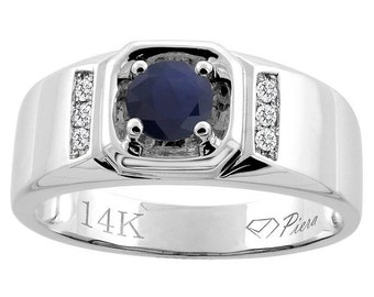 "14K White Gold Natural HQ Blue Sapphire Men's Ring, Diamond Accented, 5/16"" wide, Sizes 9 - 14"