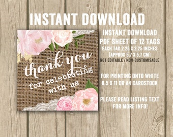 shabby birthday favor tags, printable burlap favor tags, anniversary party thank you tags, couples shower favor tag, pink floral thank you