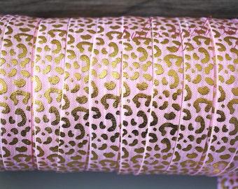 1 yard - Foil Print Pink & Gold FOE - 5/8 Fold Over Elastic - Animal Print Foldover Elastic - printed FOE - Elastic by the yard - DIY