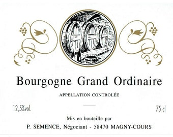 Bourgogne Wine Labels - 6 French Vintage Wine Tag - Burgundy Wine Label - Art Paper Supplies - Kitchen Decor -  Scrapbook Sheets