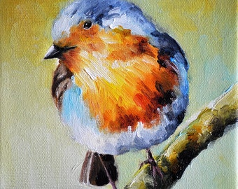 Original Impressionist Oil Painting, Colorful Robin Bird Painting 6x6 Inch