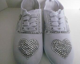 Crystal Wedding sneakers bridal sneakers wedding shoes bridal shoes rhinestone sneakers bridesmaid sneakers bling sneakers  dance sneakers
