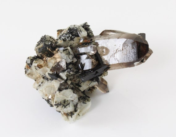 Smoky Quartz Cluster with Arfvedsonite and Microline, M-1364