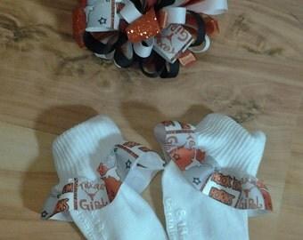 Texas Longhorns Ribbon Socks and Matching Hair Bow