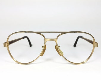 Vintage 1980s Gold and Amber Marble Aviator Eyeglass Frame - Pierce XX