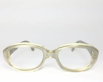 Vintage 60s Eyeglasses | 1960s Petite Round Clear Pearl White Glasses | NOS Eyeglass Frame | Deadstock Eyewear - Juju