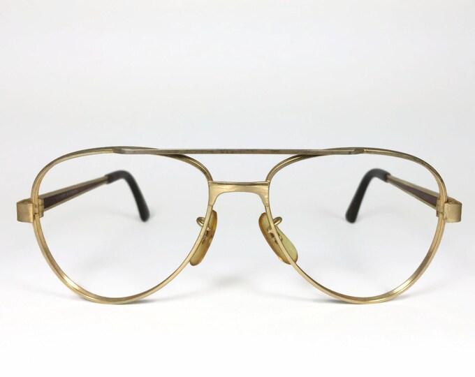 Vintage 1980s Gold and Amber Marble Aviator Eyeglass Frame - Pierce XX