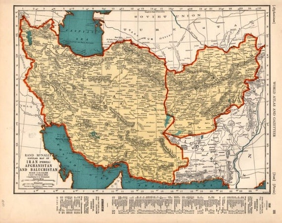 1940 Detailed map of Iran and Afghanistan vintage print for – Afghanistan Iran Map