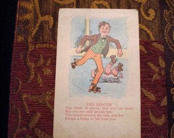"Vintage ""Skater"" Postcard - Circa 1913 - Great Vintage Condition!!"