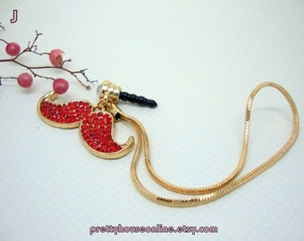 SPECIAL SALE - Handmade Phone Plugs and Charms Bling Rhinestone Embellished Mustache Style, iPhone Earphone Plug, Unique Gift For Her