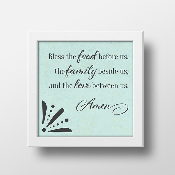 Kitchen Blessing Wall Decor: Bless The Food Before Us, Dinner Blessing, Kitchen Art