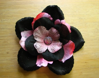Pink and black flower fascinator