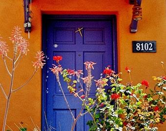 Orange old Door in Tucson