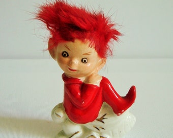 Vintage red pixie ornament