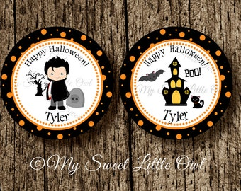 Halloween cupcake topper - boy halloween sticker - halloween printable - halloween label - halloween favor tag - halloween party - Dracula