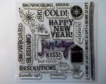 JANUARY WORD PUZZLE -- D1268.  A My Acrylix stamp set from Close to My Heart.  Gently used and ready to ship.