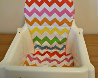 IKEA Antilop Highchair Cover  & Fizz 2 Geo - Chevron Rainbow. Cushion insert/Liner for high chair in designer fabric.