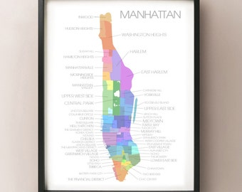 Manhattan, NY Map - Coloured Neighborhoods Print