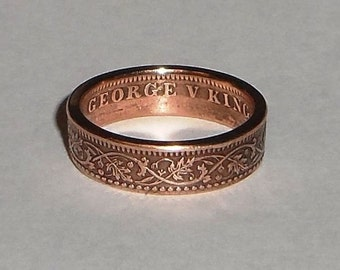Coin Ring made from 1/4 ANNA coin from India size 6-14
