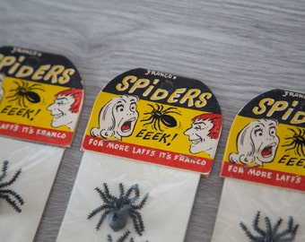 Set of 4 Vintage Collectible Halloween Spiders by Franco's / Novelty Gag Toy in Original Package