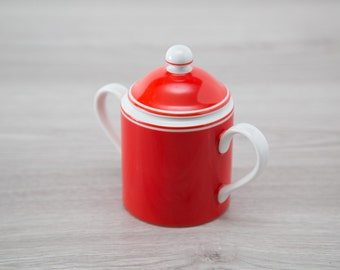 Fitz and Floyd Rondelet Rouge Fine Porcelain Sugar Canister / Red Kitchen Container