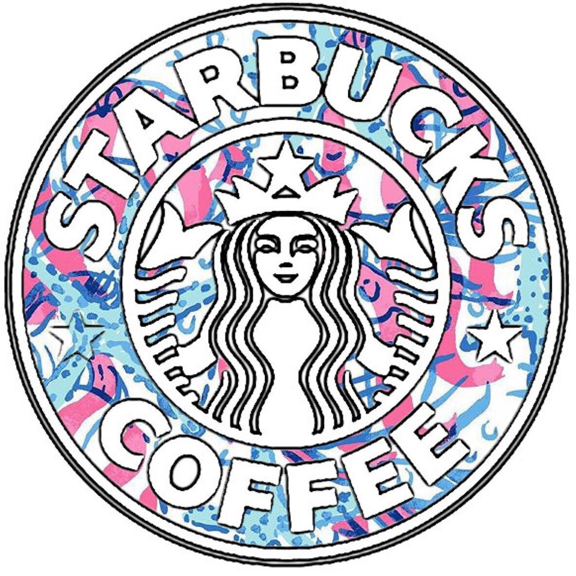 lilly pulitzer vinyl starbucks sticker by thelittlebluebow88