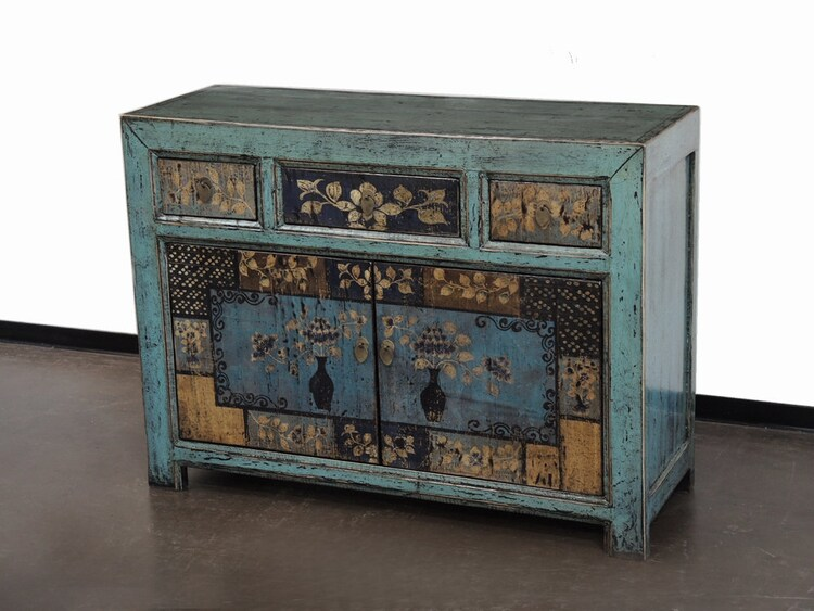 hand painted blue mongolian cabinet by terra nova by terranovala. Black Bedroom Furniture Sets. Home Design Ideas
