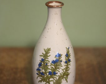 Vintage Takahashi Japan Bud Vase Painted Blue Flower 1960s to 1970s