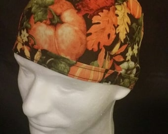 Pumpkin Patch Fall Time Autumn Scene Halloween Tie Back Surgical Scrub Hat