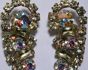 Vintage goldtone prong set AB stones costume jewelry earrings