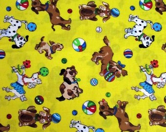 Per Yard, Dogs Playing Ball Fabric