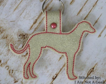 GREYHOUND Outline - Dog - In The Hoop - Snap/Rivet Key Fob - DIGITAL Embroidery Design