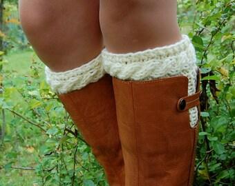 Boot Cuffs, Hand knit Boot Cuffs, Knitted Boot Cuffs, Boot Toppers, Stocking, Gaiter, Leg warmer, Womens Boots Socks