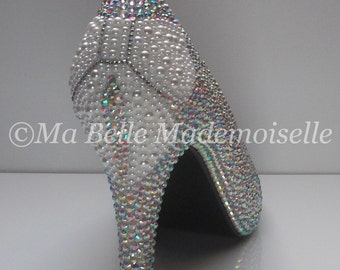 Ellie Pearl Bow Crystal Bridal Shoe's, Bow Bridal Shoe, Bow Wedding Shoes, Pearl Bridal Shoes, Crystal Bridal Shoes, Pearl Wedding Shoes